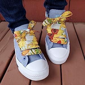 bright colorful designed shoelaces