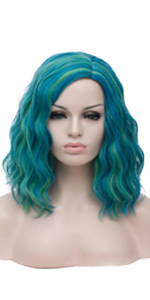 Mix Green Short Curly Wig
