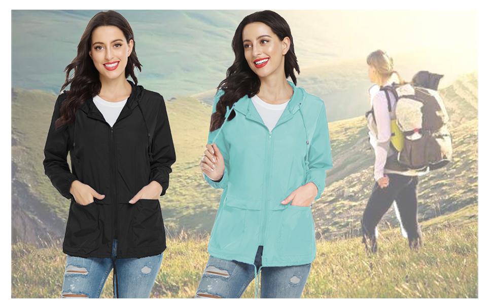 windbreaker jackets for women waterproof raincoats for women lightweight rain jackets with hood