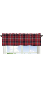 Red and Black Woodland Plaid Flannel Window Treatment Valance for Rustic Patch Collection