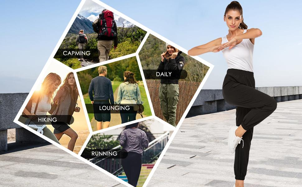 Chigant Women's Hiking Pants Quick Drying Rain Pants Outdoor Lightweight Travel Cargo Pants