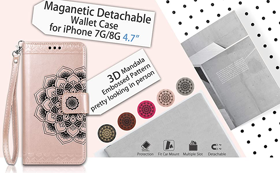 Caseowl iPhone 7 wallet case iPhone 8 wallet case for iPhone 8 iPhone 7 Magnetic Detachable