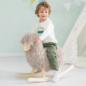 labebe- Grey Lam Sheep Rocker
