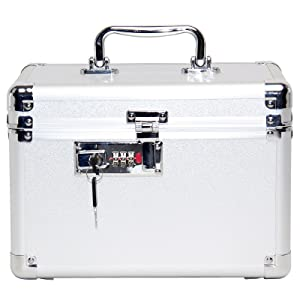 portable combination lock safe box with the backup keys