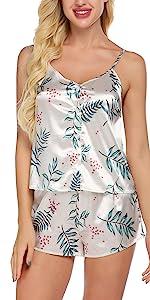 Ekouaer Womens Print Satin Cami Pajama Set V-Neck PJ Button Camisole Shorts Sleepwear