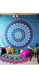 elephant tapestry, elephant decor, blue tapestry, blue blanket, bohemian tapestry, bohemian decor