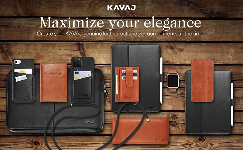KAVAJ Set genuine leather iPad case 2019 iPhone cover black cognac brown purse leather Apple Watch