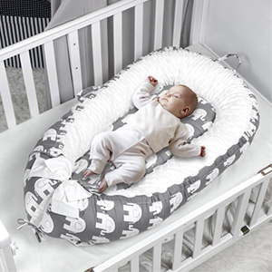 Napping and Travel Grey Star Baby Nest Portable 100/% Soft Cotton Baby Bassinet Crib Breathable Newborn Infant Bed for Co-Sleeping KAKIBLIN Baby Lounger 0-12months