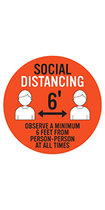 Social Distancing Floor Decal - Red/White