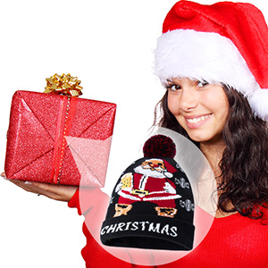 Stylish LED Ugly Christmas Knit Beanie Hat  Indoor Outdoor Festival Holiday Party