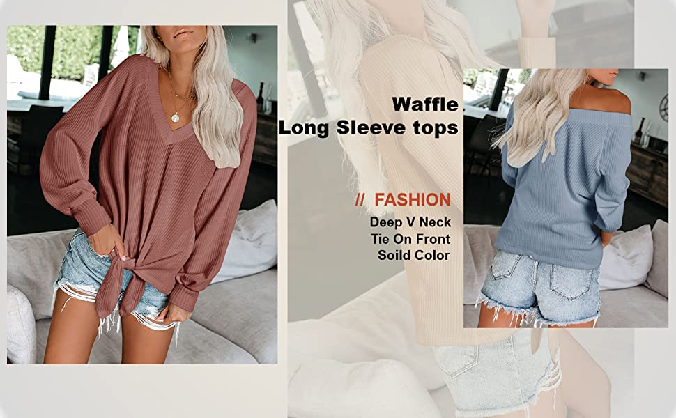 Womens Oversized Tie Knot Front Tops Off The Shoulder Waffle Shirts Pullover V Neck Sweatshirts