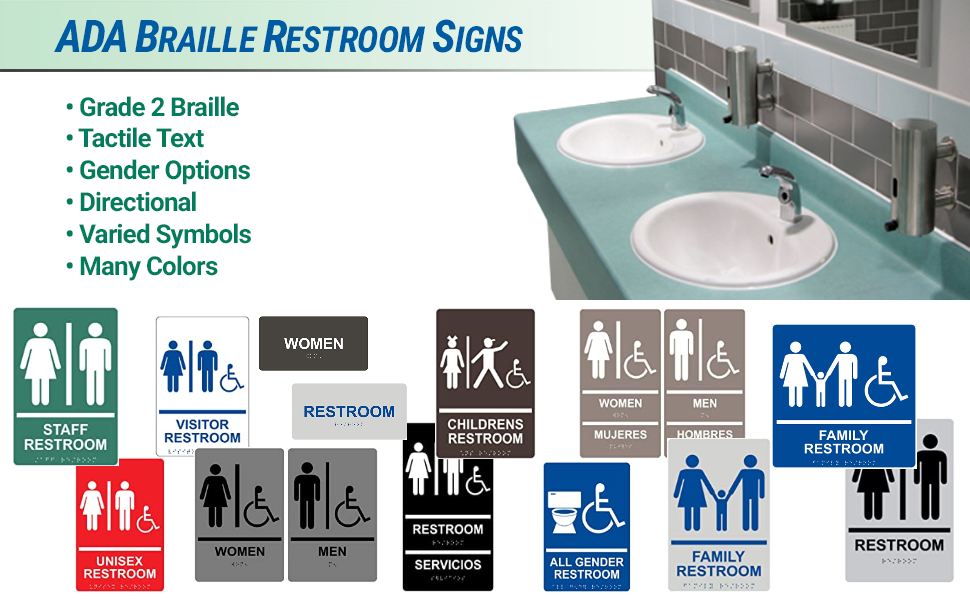 ADA Braille restroom signs in many colors for gender directions and more