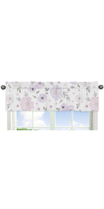 Lavender Purple, Pink, Grey and White Window Treatment Valance for Watercolor Floral Collection