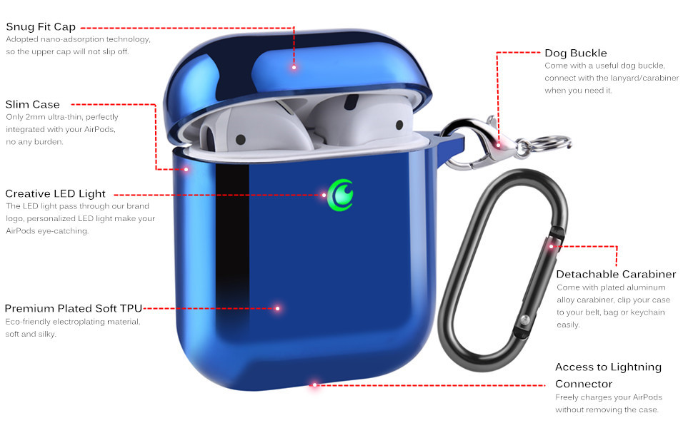 EYEKOP AirPods Case, Premium Soft TPU Plated AirPod Case with Keychain and Crystal Lanyard