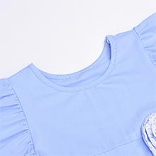 blue dress round collar