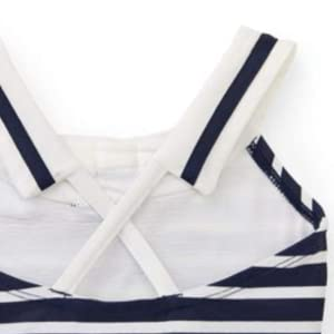 Hope Henry organic cotton girl toddler young swim swimsuit one piece sailor bow collar stripe dot