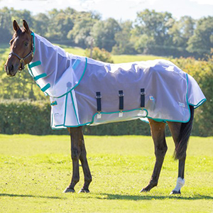 Profile image of a horse wearing the Highlander Fine Mesh Fly Sheet with the neck attachment