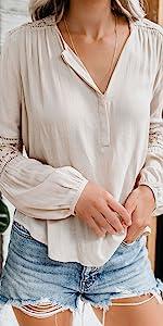 Button Down Chiffon Henley Shirts