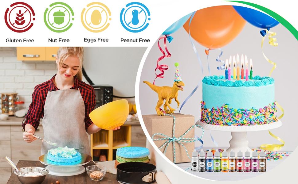 10 Color Liquid Food Coloring Set Edible Vegan Food Dye Slime Icing Baking Fondant Cake Decorating
