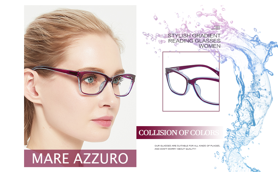 Fashion reading glasses for women with flexible spring hinge clear lenses
