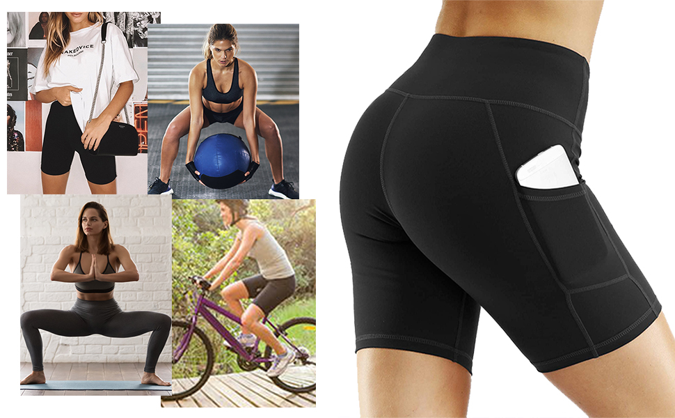 Best Pants for Running,Dance,Bike Aoliks Womens High Waisted Yoga Shorts Two Side Pocket