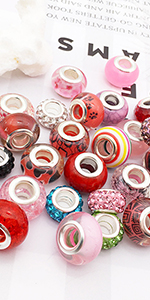 Colorful European Murano Glass Beads Large Holes Charms Supplies for DIY Bracelet Necklace Jewelry
