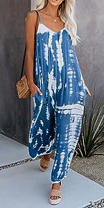 tie dye jumpsuits women summer boho