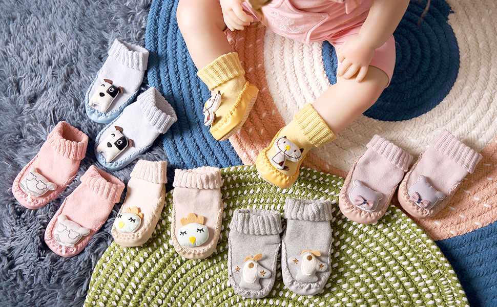 Childrens Kids Toddlers Animal Non-Skid Indoor Slipper Baby Boy Girl Breathable Outdoor Shoes Socks