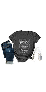 Women Shot of Whiskey T-Shirt O-Neck Casual Graphic Drinking Letters Printed Blouse Tops