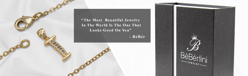 18K initial letter pendant necklace for women fashion box