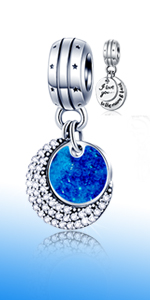 925 Sterling Silver I Love You to The Moon and Back Pendant fits Pandora Charm Necklaces
