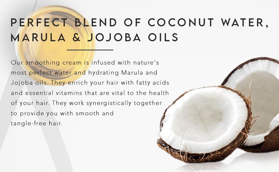 hair smoothing cream infused With Marula & Jojoba Oils