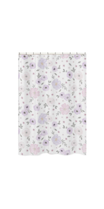 Lavender Purple, Pink, Grey and White Bathroom Fabric Bath Shower Curtain for Watercolor Floral
