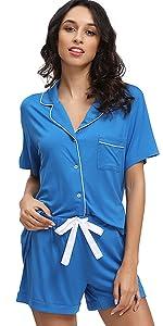 Women's Bamboo Short Sleeve Button Sleepwear Pjs Set