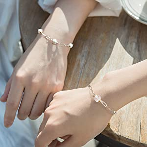 Link Bracelets for Women Mom 14K Gold Plated White Crystal Simple Delicate Charm Bracelets Flat Hollow Chain Jewelry Gift for Girl