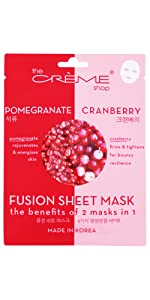 Pomegranate and cranberry face sheet mask