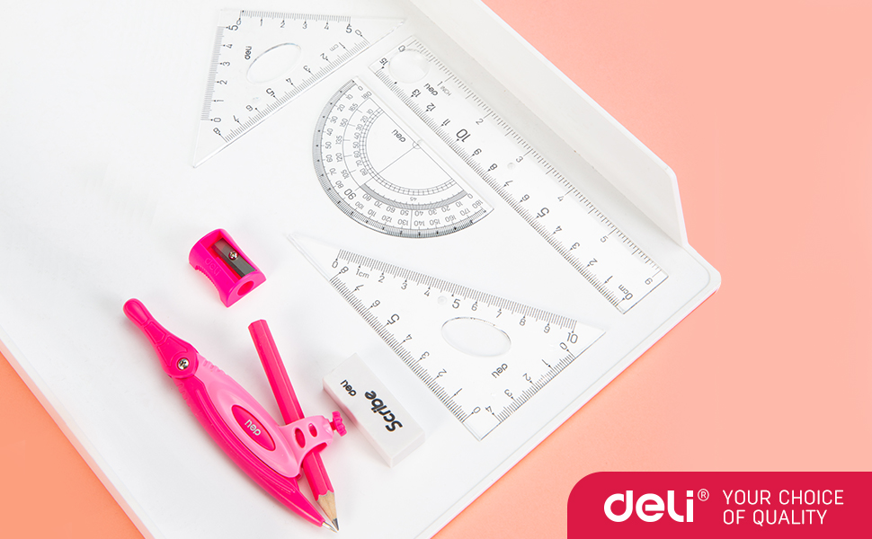 8pieces compass geometry set includes rulers, protractor, compass, pencil sharpener, pencil, eraser