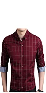 YTD Men's Plaid Slim Fit Dress Shirt