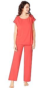 cap sleeve pajamas long pants pajama set bamboo viscose sleepwear pj silky soft jammies sleep shirt
