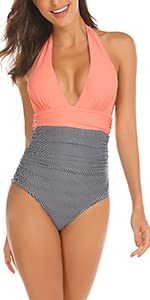 Women Halter Striped Ruched One Piece Bathing Suit