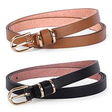 women skinny leather waist belt set of 2