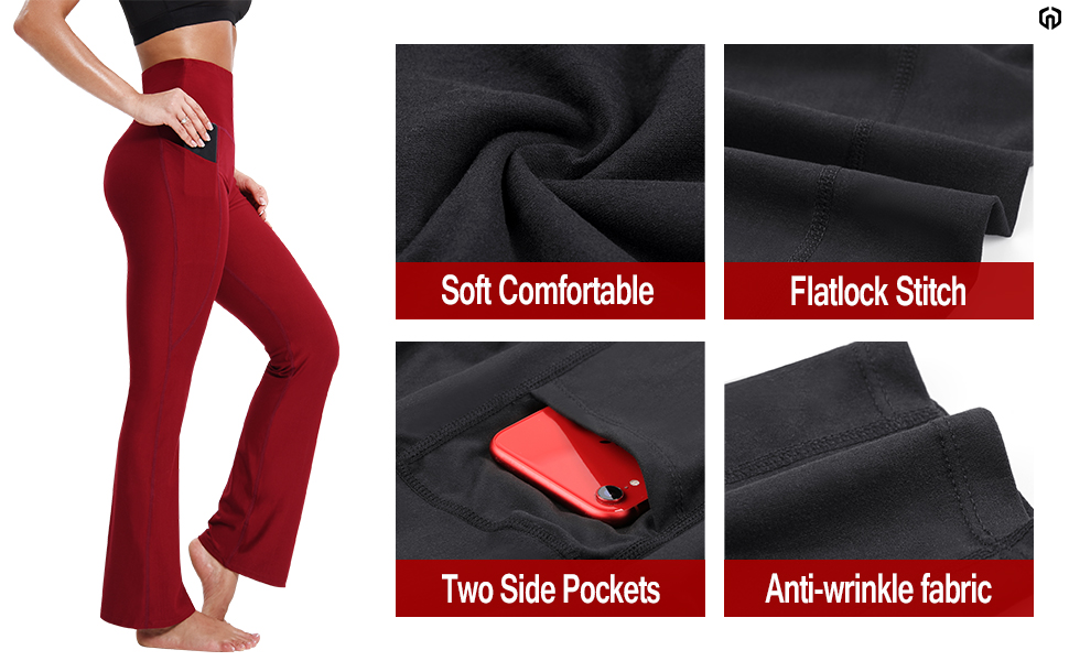 Soft Comfortable/Flatlock Stitch/Two Side Pockets/Anti-wrinkle fabricWorkout/Fitness/Daily life/Yoga