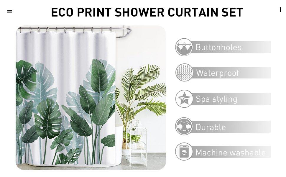 Hooks Included KGORGE Shower Curtain for Bathroom 54 x 78 inches Long Waterproof Tropical Leaves Plant Pattern Stall Size Bathroom Decor for Bathtubs Toilet