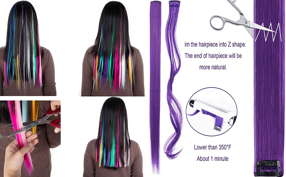 Colored Clip in Hair Extension Straight Multi-Color Party Highlights Clip in Rainbow Hair Extensions