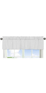 Grey and White Lattice Window Treatment Valance for Gray Bunny Floral Collection