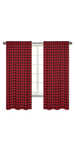 Woodland Buffalo Plaid Window Treatment Panels Curtains - Set of 2 - Red and Black Rustic Lumberjack