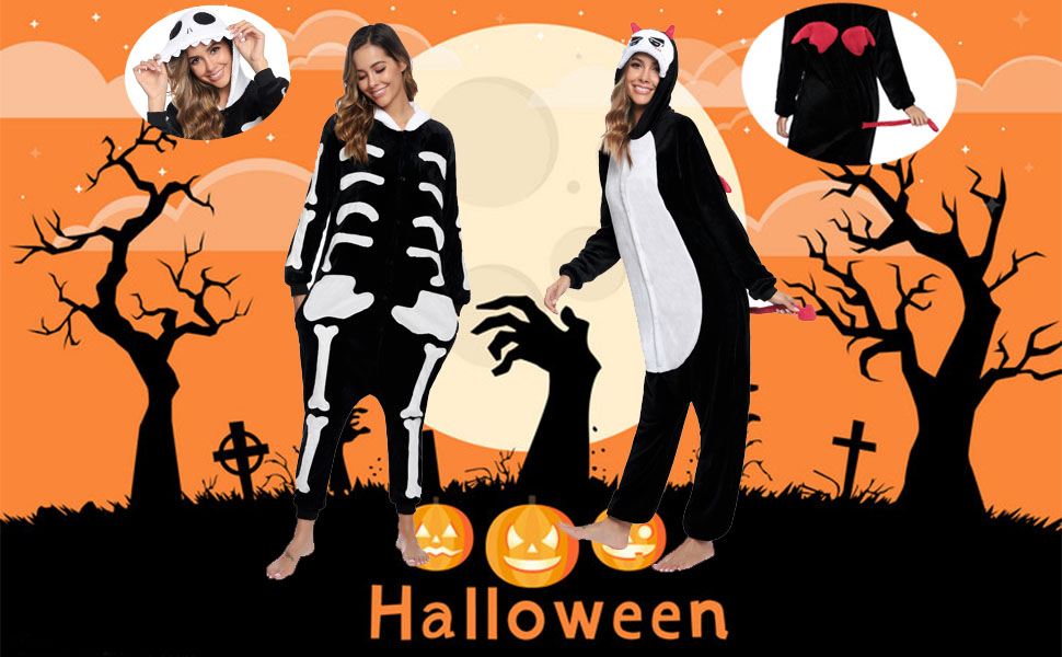 Aibrou Unisex Adult Onesie Halloween Costume Plush Pajamas Cosplay Jumpsuit Pajamas