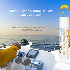 Natural Lip Balm with Zinc Oxide Sunscreen for Boating