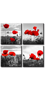 poppies chinese Ink picture abstract panel minimalist Modern Artwork paint Panels Print on office