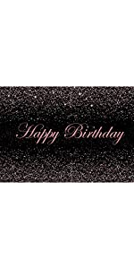 Happy Birthday Themed Black Photography Backdrop Golden Glitter Sequin Photo Background